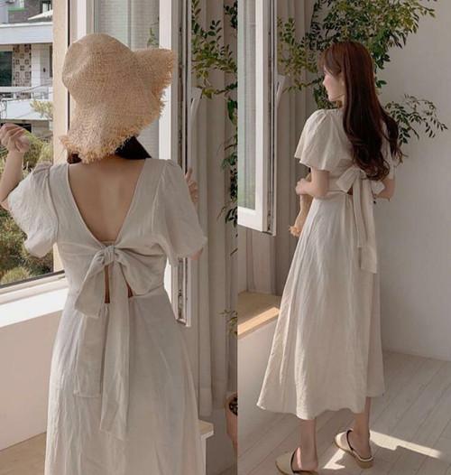 リネン ワンピース ロング リボン 背中見せ 半袖 バックシャン セクシー 大人可愛い フェミニン 韓国 オルチャン ファッション