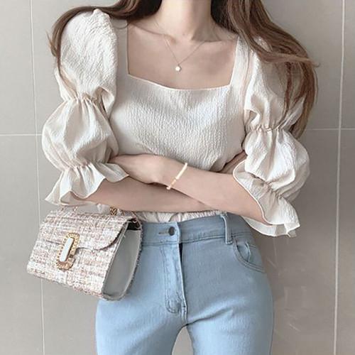 3色 マジョリカ袖 ブラウス スクエアネック ベージュ イエロー ブラック レディース ファッション 韓国 オルチャン