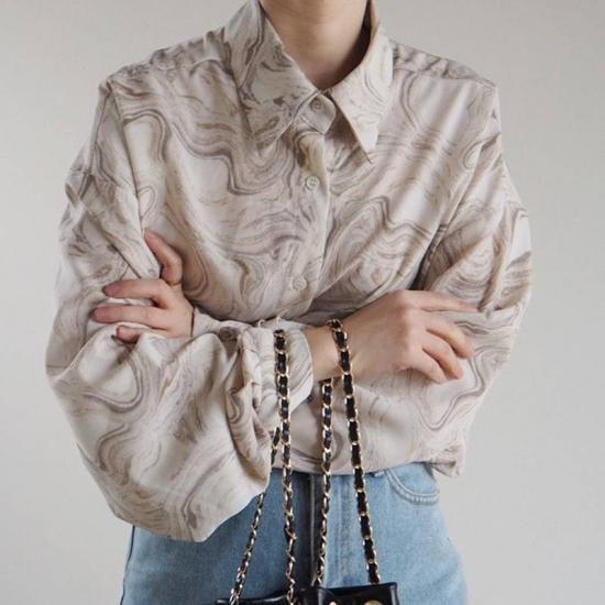 マーブル柄 ルーズ シャツ 大人カジュアル トレンド レディース ファッション 韓国 オルチャン