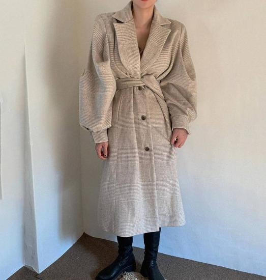 グレンチェック チェスターコート ロングコート アウター ボリューム袖 ゆったり 大人可愛い カジュアル 韓国 オルチャン ファッション