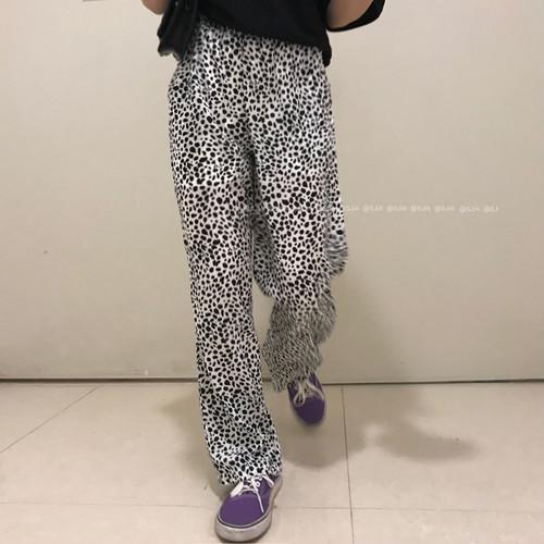 レオパード ドット ワイドパンツ イージーパンツ レディース ファッション 韓国 オルチャン