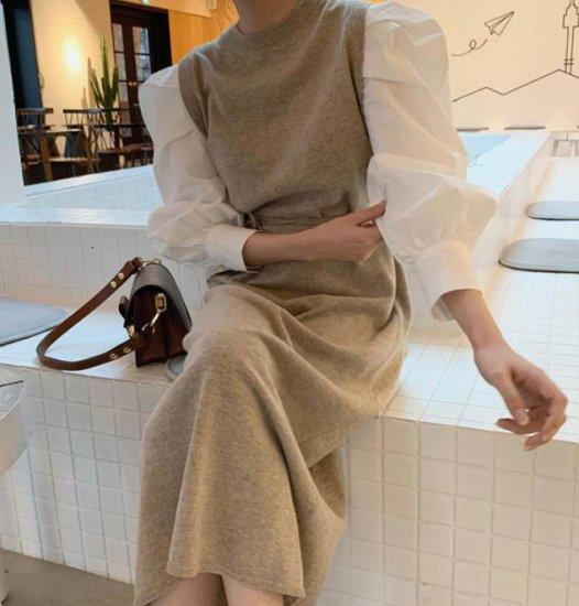 2色 ニットワンピース ロング ドッキング 長袖 きれいめ 大人可愛い レトロ 韓国 オルチャン ファッション