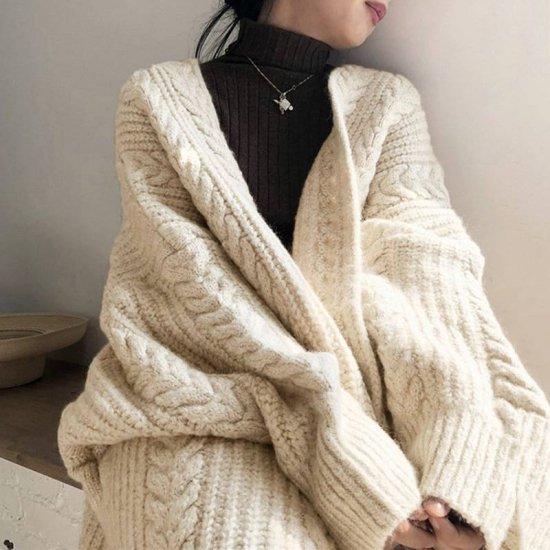 2色 ケーブル編み ニットカーディガン ロング丈 ゆったり レディース ファッション 韓国 オルチャン