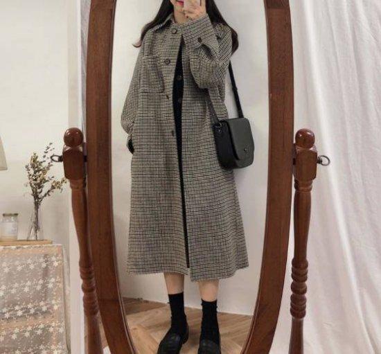 チェック柄 ステンカラーコート ロングコート アウター ゆったり 大人可愛い レトロ カジュアル 秋冬 韓国 オルチャン ファッション
