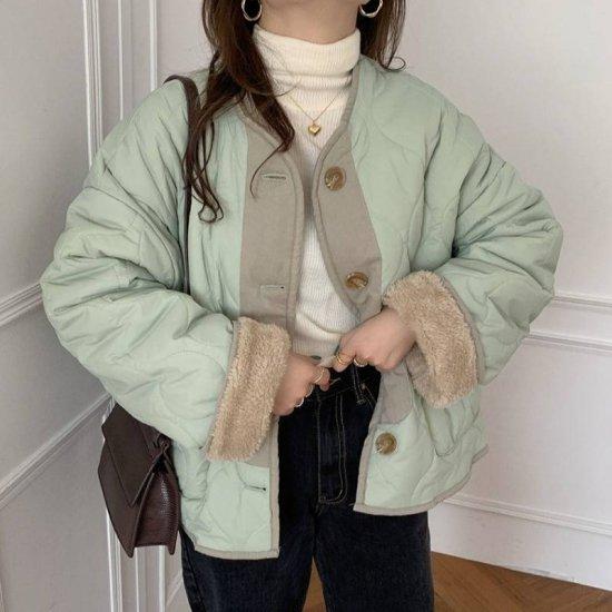 リバーシブル ボア キルティング ジャケット アウター 秋 冬 防寒 レディース ファッション 韓国 オルチャン