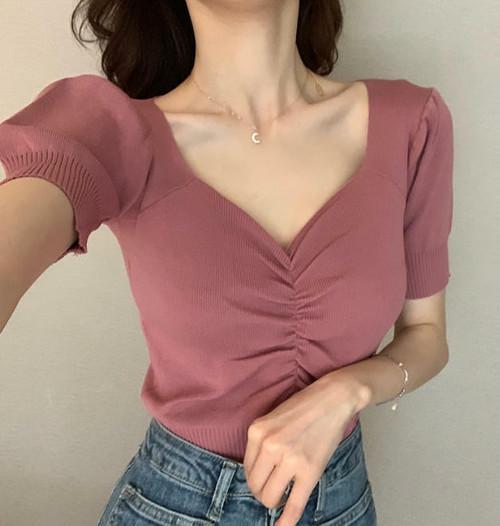 6色 サマーニット Vネック パフ袖 半袖 スリム セクシー 大人可愛い 韓国 オルチャン ファッション