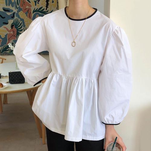 ブラウス 長袖 パイピング 韓国 ファッション レディース オルチャン 春 秋 ボリューム袖 大人可愛い