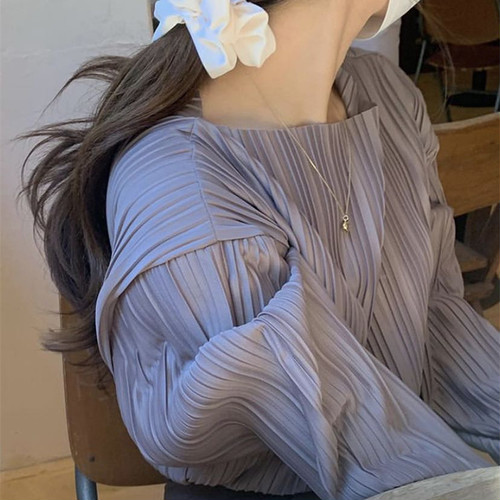ブラウス 長袖 プリーツ 韓国 ファッション レディース オルチャン 春 秋 大人可愛い デート